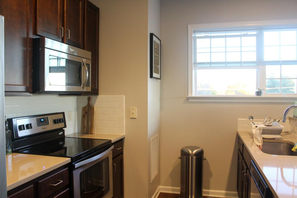 거실 창이 큰 필라델피아 아파트 에서 사는 신혼 부부입니다.